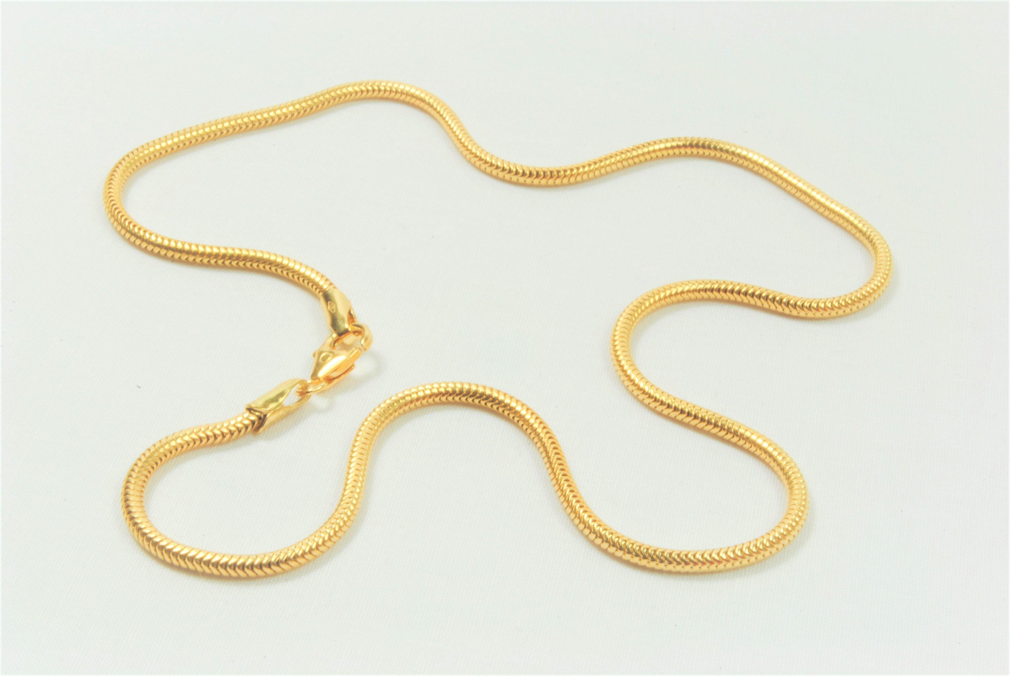 ba5f2a222582 14 kt Guld slange halskæde 45 cm - Ure-smykker din lokale urmager og ...