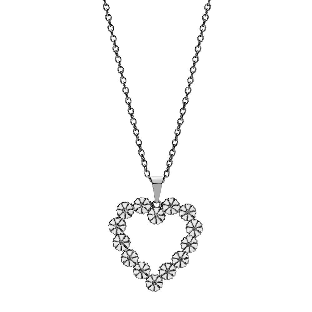 1d9066dbb4a Marguerit collier med vedhæng hjerte 14x5mm hvid emalje sort ...