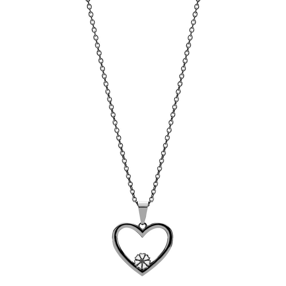 8b3fc47a88f Marguerit collier med vedhæng hjerte 1x5mm hvid emalje sort ...