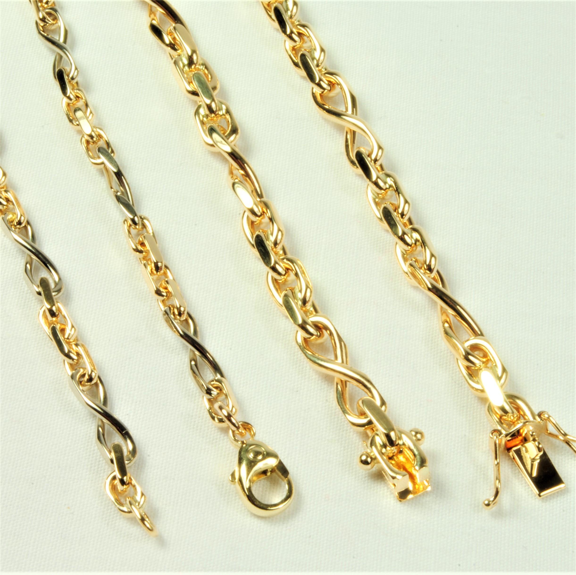 9d0b45ee589 14 kt tofarvet Guld-/hvidguld Anker Sløjfe armbånd 18,5 cm - Ure ...