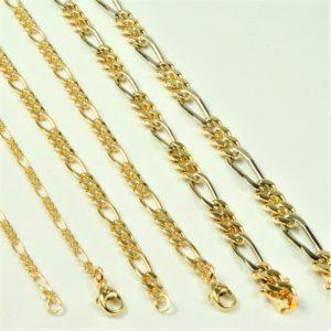 47107854b1af 14 kt tofarvet Guld- hvidguld Figaro halskæde 45 cm - Ure-smykker ...