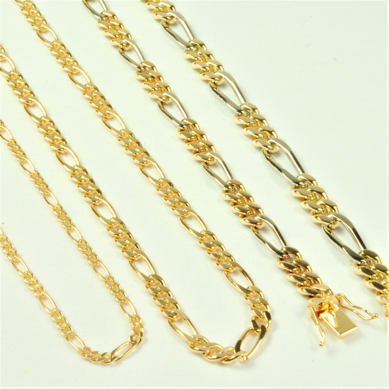 e3f15a53074 14 kt tofarvet Guld-/hvidguld Figaro armbånd 21 cm - Ure-smykker din ...