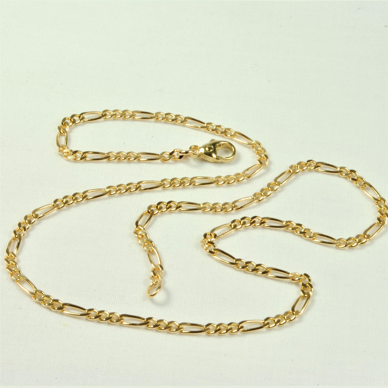 37a0f16ff3b 14 kt tofarvet Guld-/hvidguld Figaro halskæde 45 cm - Ure-smykker ...
